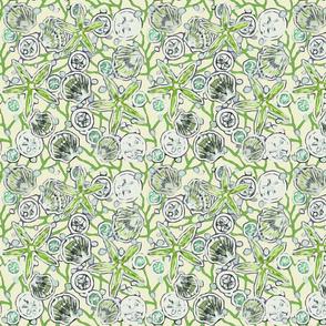 Green Toned Seashells Design 2