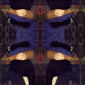 klimt lady in hat with boa