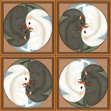 Yin Yang Squirrels with Strawberries