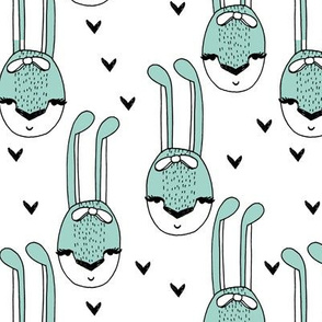 Bunny Head - Pale Turquoise and White by Andrea Lauren