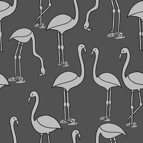 Flamingo new - Charcoal and Slate by Andrea Lauren