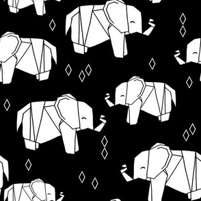 Origami Elephants - White and Black by Andrea Lauren