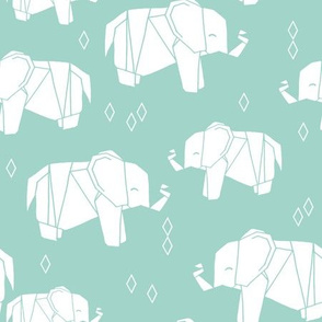 Origami Elephant - Pale Turquoise by Andrea Lauren