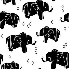 Origami Elephants - Black and White by Andrea Lauren