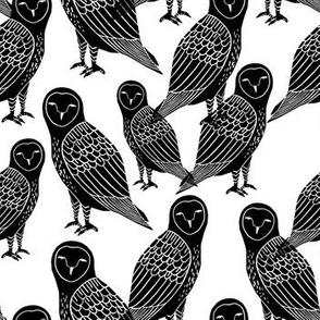 owls // block printed black and white owls bird illustration for kids nursery or halloween