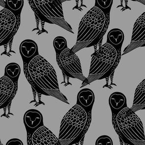 owls // black and grey halloween block printed bird design spooky creepy owls by Andrea Lauren