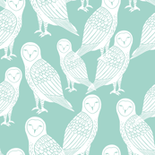 Halloween Owl - Pale Turquoise by Andrea Lauren