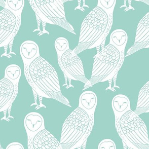 owl // mint and white block printed owls bird design by Andrea Lauren