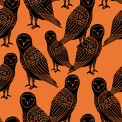 Halloween Owls - Orange by Andrea Lauren