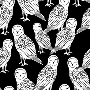 owls // block printed black and white owls hand-carved illustration by Andrea Lauren