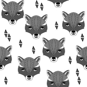 Raccoon Head - White and Greys by Andrea Lauren