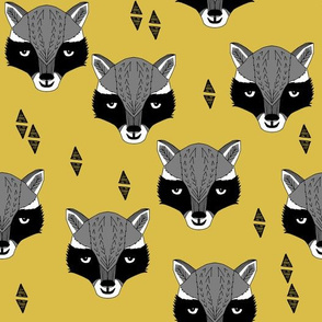 raccoon // mustard  yellow raccoon animal cute yellow woodland animal fabric by andrea lauren