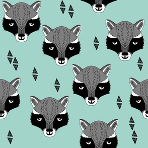 Raccoon Head - Pale Turquoise by Andrea Lauren