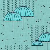 Umbrellas Blue and Stars