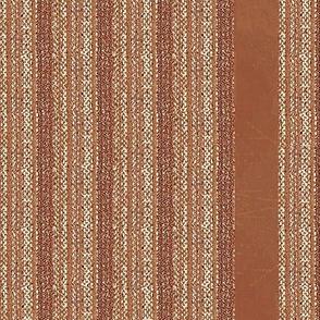 Weaver's Blanket Vertical Stripe - salmon, terracotta, off white
