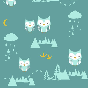 Cute Owl at night pattern