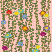 After Klimt Vines and Flowers - coral pink