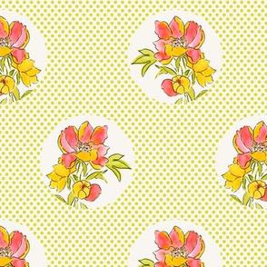Vintage Floral Dot on Dot Lime