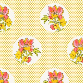Vintage Floral Dot on Dot Yellow