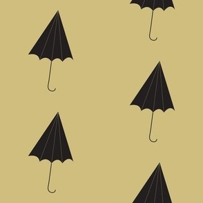 black umbrellas on walnut