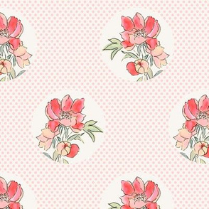 Vintage Floral Dot on Dot Pale Pink