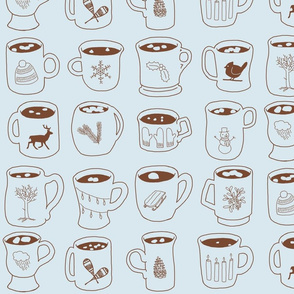 Winter Symbols on Cocoa Mugs