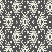 Dark Gray & Cream Aztec with Diamonds