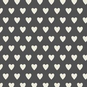Hearts - Gray & Cream