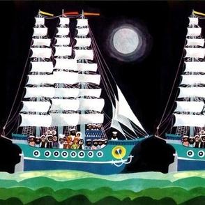 vintage retro kitsch sailing boats ships sailors nautical navy kings queens sea ocean moon water night yacht