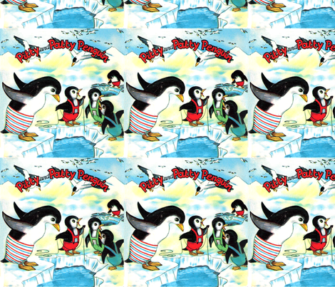 Vintage kids kitsch children penguins north south pole for Children of the sea fabric