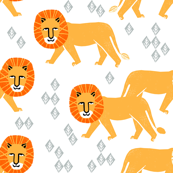 Safari Lion - White Background by Andrea Lauren