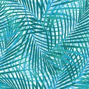 Palm leaf leaves in Blue Teal