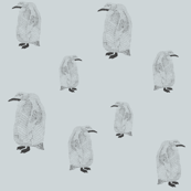 penguin pale blue