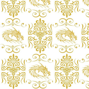 GOLD DRAGON DAMASK