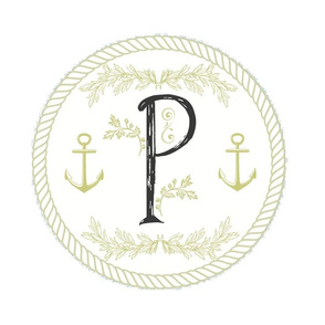 Vintage Nautical White Initial - P
