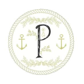 Vintage Nautical White Initial - P