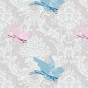 Damask Elegant Pink Blue Birds