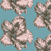 Large Pink Blue Tropical Hibiscus Illustration