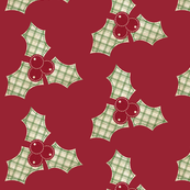 Christmas Red Green Plaid Holly