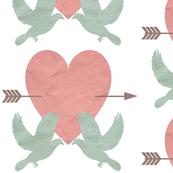 Large Pink Mint Blue Love Birds