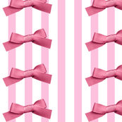 Pink White Large Bow Stripes