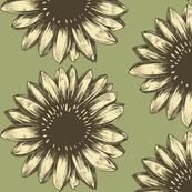 Large Yellow Green Summer Sunflower Illustration