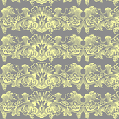 Yellow Grey Ornamental Stripe Illustration