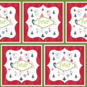 Mittens Red Holiday-Quilt-personalized