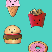 Kawaii Fast Food Turquoise