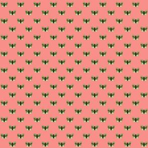 Green Butterflies on Pale Pink