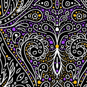 exotic paisley damask, halloween colors