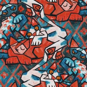 Cubist Cats Blue Red & Teal