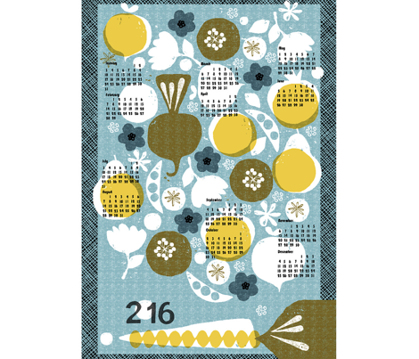 2016 produce tea towel calendar - 27 inch