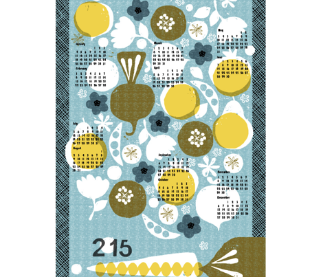 2015 produce tea towel calendar - 27 inch